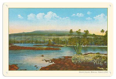 Coconut Island Moku Ola Hawaii 1924 Vintage Hawaiian Postcard Metal Tin Sign