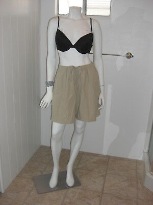Basic Editions Shorts Size 1X Pocketed Elastic Waistband Beige