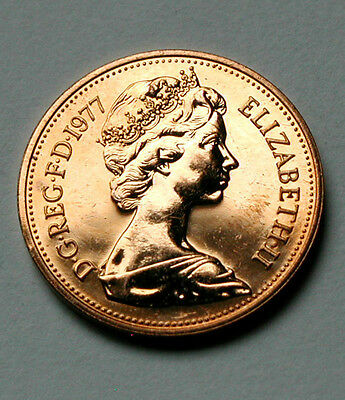 1977 UK (British) Elizabeth II Coin - Two Pence (2p) - UNC (from mint set)