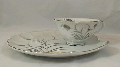 Vintage Lefton China Platinum Wheat  Snack Plate & Cup Sets