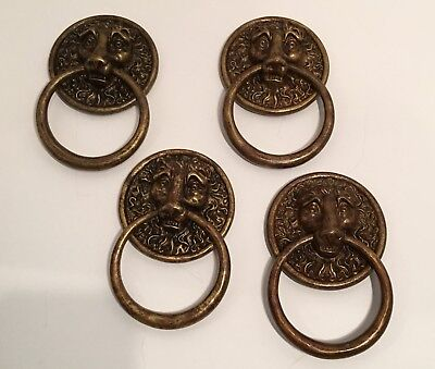 lot of 4 antique/ vintage solid brass lion's head door knocker marked on back