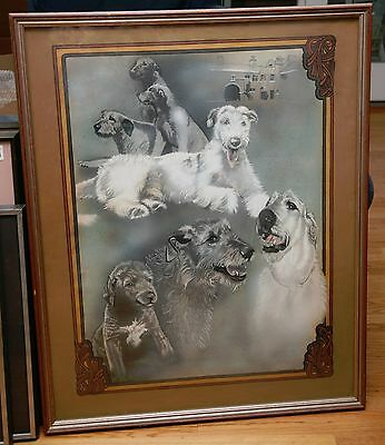 Patricia Bryant Original Watercolor Gouache Irish Wolfhounds 35x26 Framed