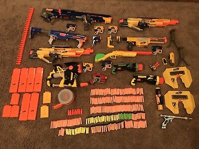 Huge Nerf Lot 18 Guns Tons Of Accessories And Darts Stampede Longshot Raider