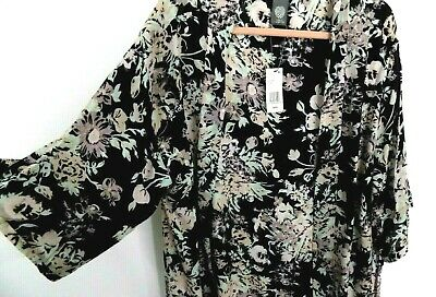 Vince Camuto Boho Chic Kimono Bouquet Wrap Topper Cardigan Black Floral One Size