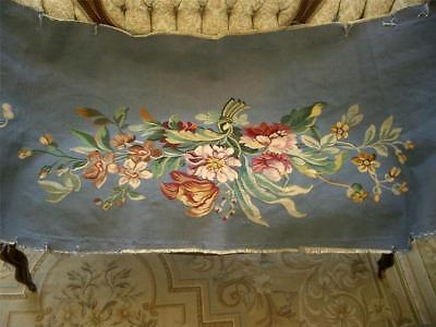 1 0f 2 SUPERB LG HANDMADE Antique Vtg AUBUSSON TAPESTRY SETTEE COUCH BENCH COVER