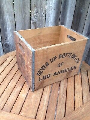 Vintage Wood Large 7 UP Seven UP Crate  Los Angeles  1972