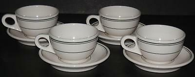 SET of 4 GREEN STRIPE DINER COFFEE CUPS & SAUCERS HOMER LAUGHLIN RESTAURANT WARE