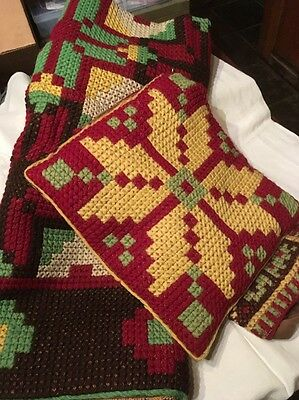 Antique/Vintage Latvian Hand Embroidered Throw/Rug And Pillow