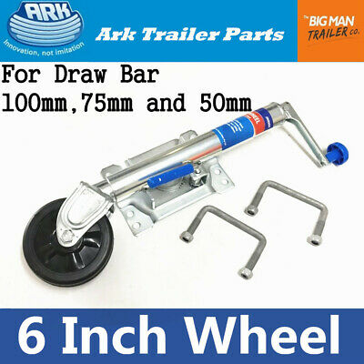 "ARK 6"" Inch Trailer Jockey Wheel Swivel Fixed Bracket Draw Bar U Bolts JWE6SU"