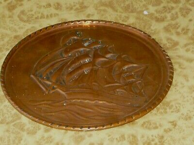 60s 70s Sailing Ship Display Plate VINTAGE Hammered Copper Art Beach House Deco