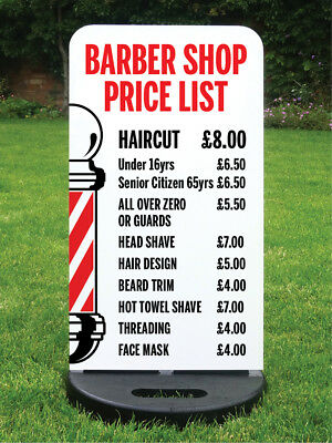 Barber Shop Price List Pavement Sign *printed Free With Your Services & Prices*