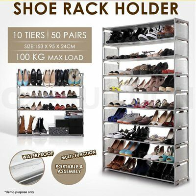 50 Pairs 10 Tiers Portable Steel Stackable Shoe Rack Storage Cabinet Organiser A