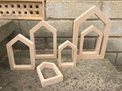 MDF wooden Hollow House Shapes Great for Peg People - choice of sizes 18mm