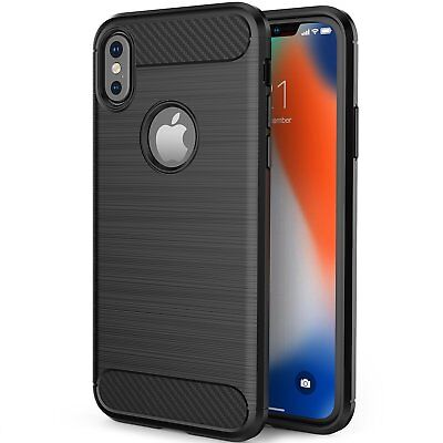 Fashion Hybird Carbon Fiber Armor Silicone Case Cover For iPhone Xs 7 8 6S Plus