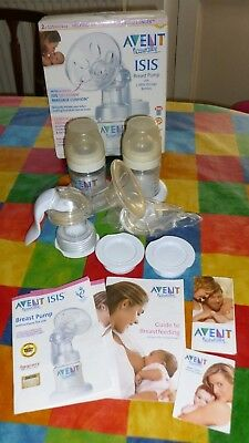 Avent Naturally Isis Breast Pump wtih 2 Milk Storage Bottles