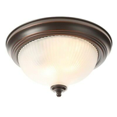 Ceiling Light Oil-Rubbed Bronze Flushmount with Frosted Swirl Glass Shade 11 in