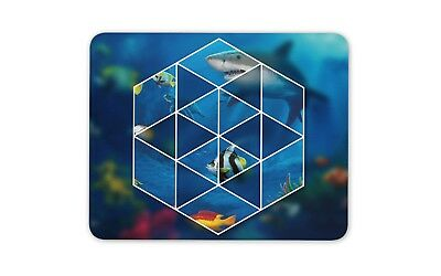 Geometric Underwater Mouse Mat Pad - Fish Shark Surf Diving Gift Computer #8833