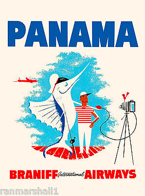 Panama Caribbean by Air Sea Fish Central America Travel Poster Advertisement