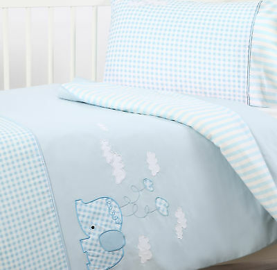 NEW Dreamaker Cotton Sateen Cot Quilt Cover Set - Blue Elephant Design