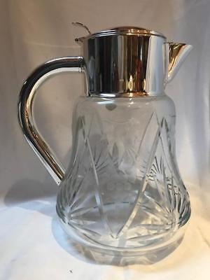 Vintage Quist Prasente Germany Silver Plate Large Crystal Carafe Pitcher Cooler