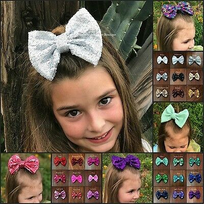 Hair bows 5 inch sequin sparkle on clip baby toddler girls 31 colors baby bows