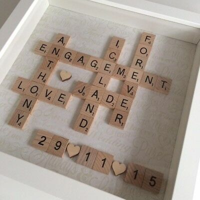 Handmade Scrabble Letter Box Frame Picture Engagement Wedding