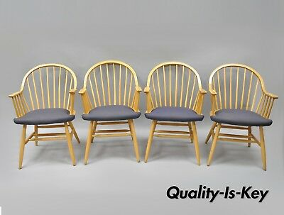 Spindle Back Windsor Style Wooden Dining Kitchen Chairs by Loewenstein Set of 4