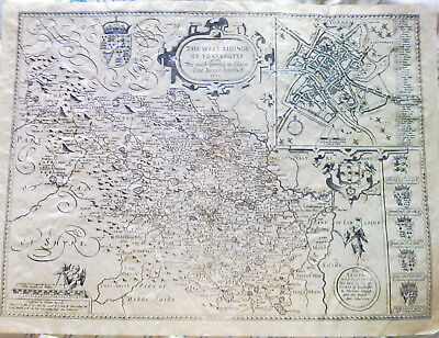 """Reproduction John Speed map of West Yorkshire - reproduction old map 20"""" x 15"""""""