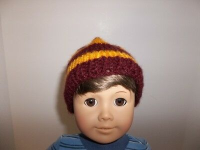 """Wine and Gold Hand Knit Hat made for 15"""" and 18"""" American Giirl Boy Doll Clothes"""