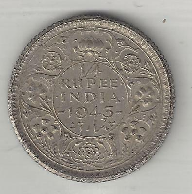 INDIA, BRITISH, 1943 (c), 1/4 RUPEE, SILVER, KM#546, CHOICE ALMOST UNCIRCULATED