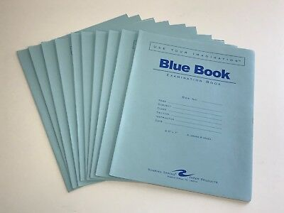 "Blue Book Examination Book, 8 1/2"" x 7"", 4 sheets/8 pages, Wide Ruled, 10 Books"