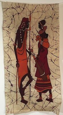 Ethnic African Batik Fabric Wall Hanging Waxed Linen Signed Textile Art Africa