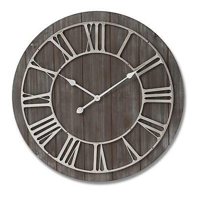 Large Rustic Wooden Wall Clock - Round Vintage Metal Numerals Antiqued Face 68cm