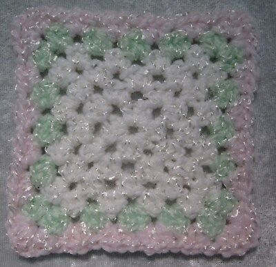 Miniature DOLLHOUSE BABY Crochet Mini BLANKET, Afghan, Quilt #17 Spring Time