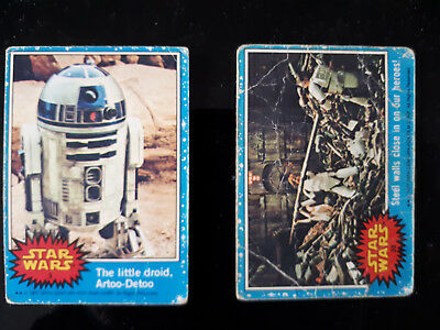 STAR WARS Series 1 BLUE Bubblegum Trading Card Singles Cards Numbers # 3 & # 39