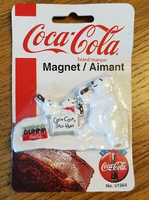 Coca Cola Sold Here Polar Bears Coke Refrigerator Magnet Collectible  Nip