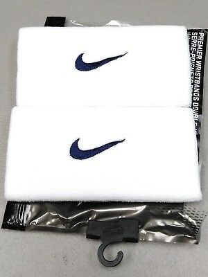 Nike Unisex Dri-Fit Doublewide Wristbands - White with Navy Blue Swoosh - NIP