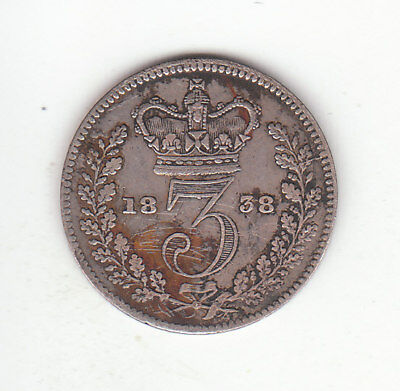 1838 Great Britain Queen Victoria Sterling Silver Threepence.  Scarce.  FV.