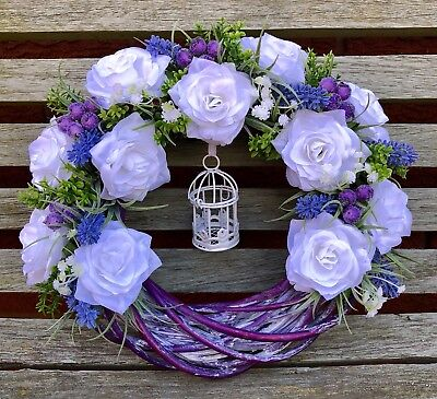 White Roses Wreath Lavender Shabby Chic With Decorative Bird Cage Handmade