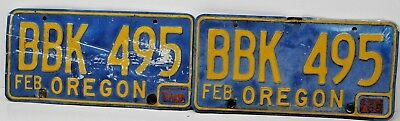 Vinatge 1960's early 1970's Oregon License Plates Matching Pair Blue & Yellow