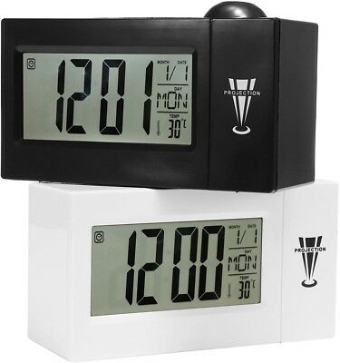 Snooze Alarm Clock Backlight Wall Projector Projection Clocks With Thermometer