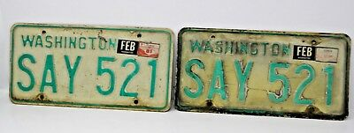 1960'S 1970'S WASHINGTON License Plate Old Antique Vintage Auto Matching Pair