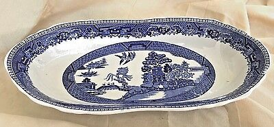 Buffalo China Blue Willow Oblong Bowl Scallop Trim Transferware Heavy Ceramic