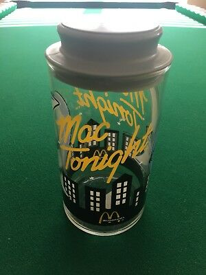 "Vintage Mcdonald's Mac Tonight ""Moon Man"" Glass Container Jar 1988 Collectible a"