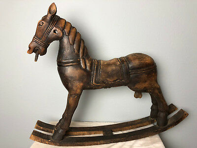 "Vintage Antique Hand Carved Wooden Horse Rocking Wood Carousel Toy 27""x22""!"