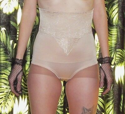 Vintage Nude Panty Girdle Waist Clincher L pinup clothing girl shapewear lace