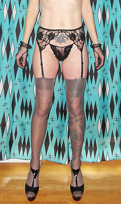 Vintage Black Lace Intimate Attitudes Garter Belt & Stocking Set XL pinup retro