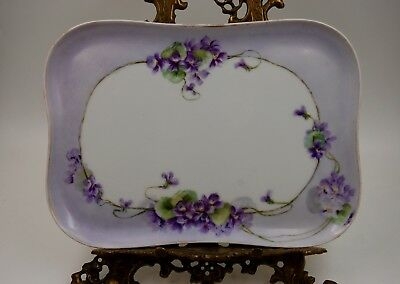 Antique Limoges Violets  Hand Painted Plaque Tray