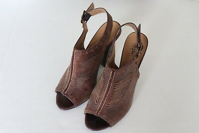 0b0da1ea51e Mossimo Size 6 M Brown Leather Suede Sling Back Peep Toe High Heel Shoes