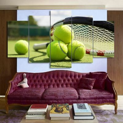 Tennis Racket 5 Panel Canvas Print Wall Art